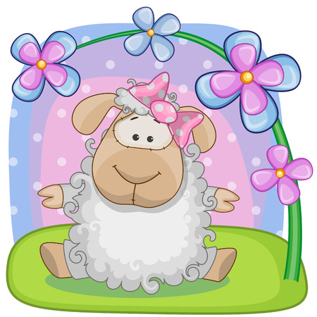 Greeting card Sheep with flowers Vector