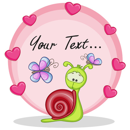 child's: Greeting card snail with hearts