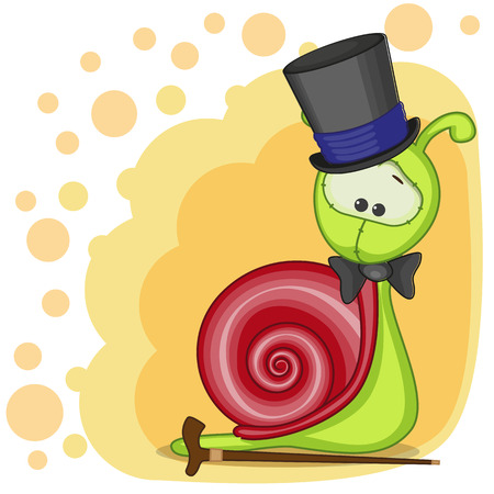 Greeting card Snail in a hat