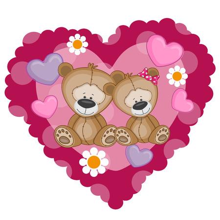 Zwei Bären auf einem Hintergrund von Herzen