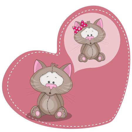 Greeting card Cute Dreaming Cat  Vector
