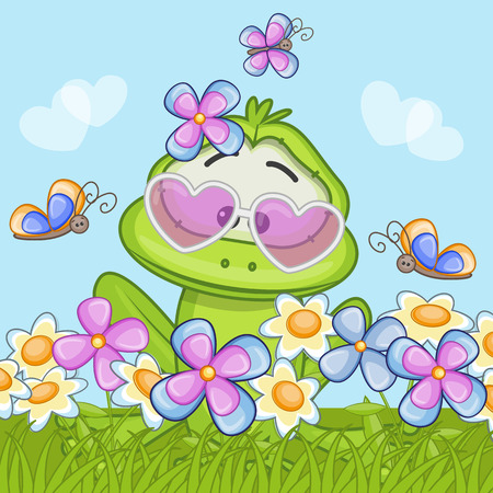 Cute cartoon frog on the meadow with flowers Vector
