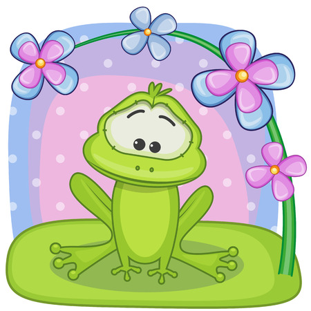Greeting card frog with flowers Vector