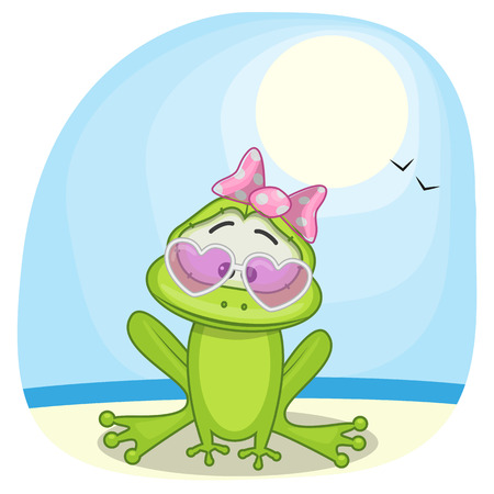 funny frog: Greeting card Frog on the beach