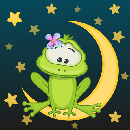fairy light: Frog girl is sitting on the moon