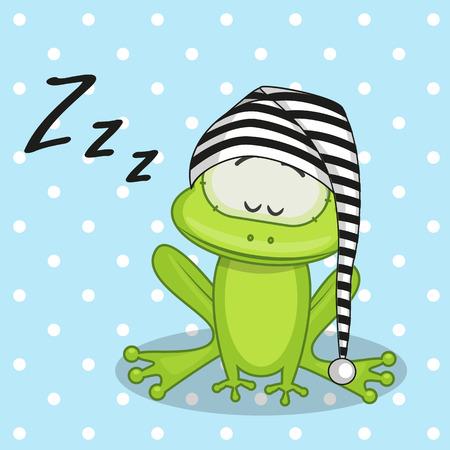 pajamas: Sleeping Frog in a cap Illustration