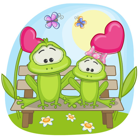 Valentine card with Lovers Frogs Vector