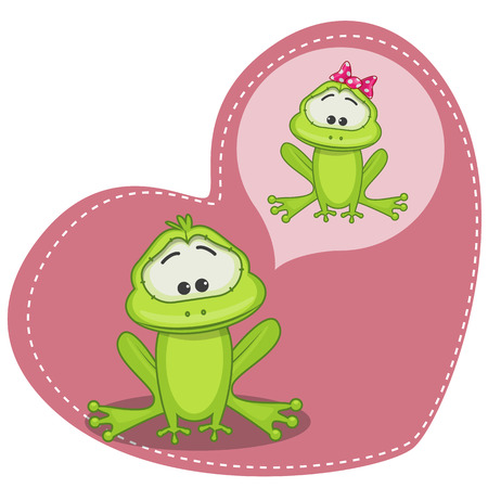 Greeting card Cute Dreaming Frog Vector