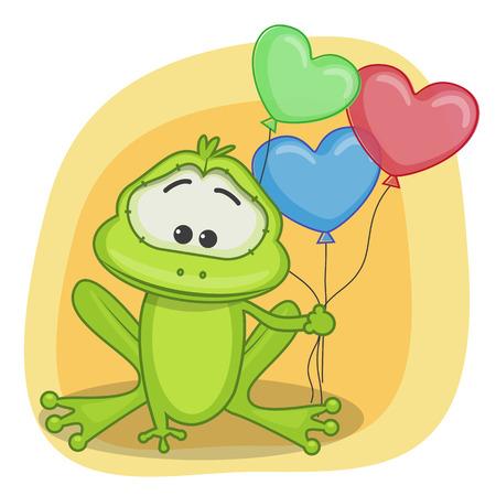 Tarjeta de felicitación de la rana con globos