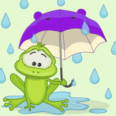 Greeting card Frog with umbrella Vector