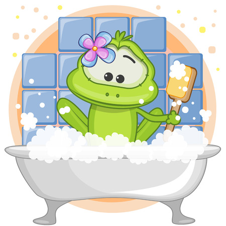 domestic bathroom: Cute cartoon Frog in the bathroom
