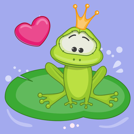 Cartoon Princess Frog with heart Vector