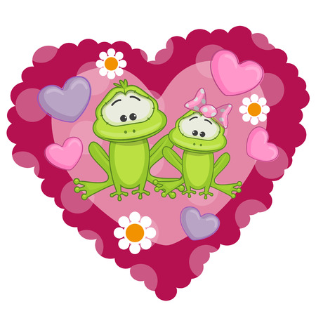 Two frogs on a background of heart Vector
