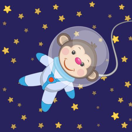 monkey suit: Monkey astronaut on a stars background