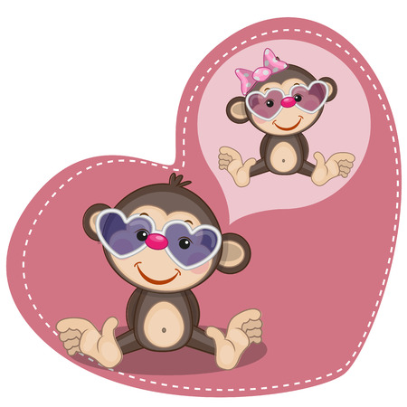 Greeting card Cute Dreaming Monkey Vector