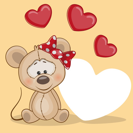 cartoons animals: Greeting card mouse with hearts