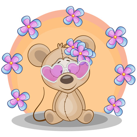 Greeting card Mouse with flowers Vector