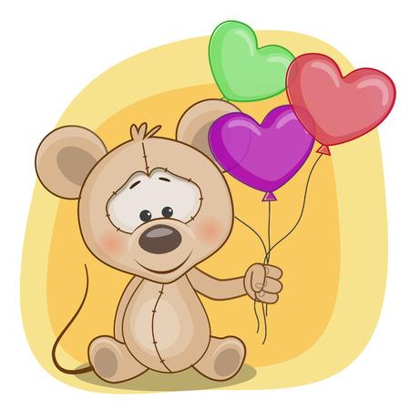 Tarjeta de felicitación del ratón con globos