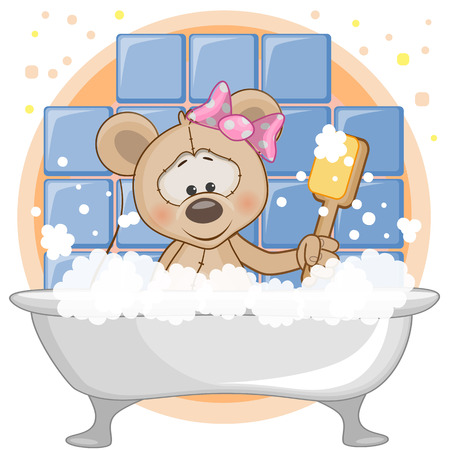 bubble bath: Cute cartoon Mouse in the bathroom