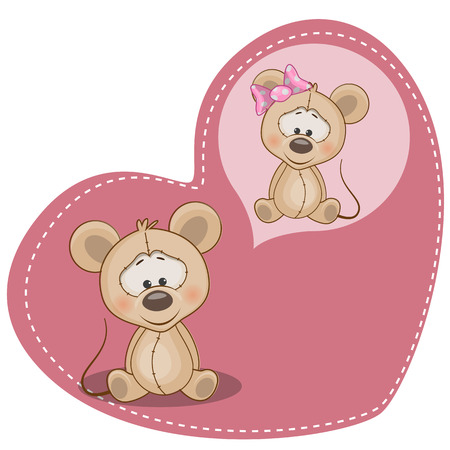 Greeting card Cute Dreaming Mouse Vector