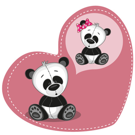 Greeting card Cute Dreaming Panda Vector