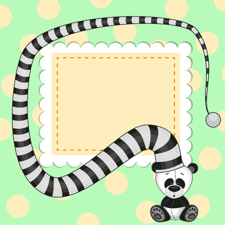 Greeting card with panda in striped hat Vector