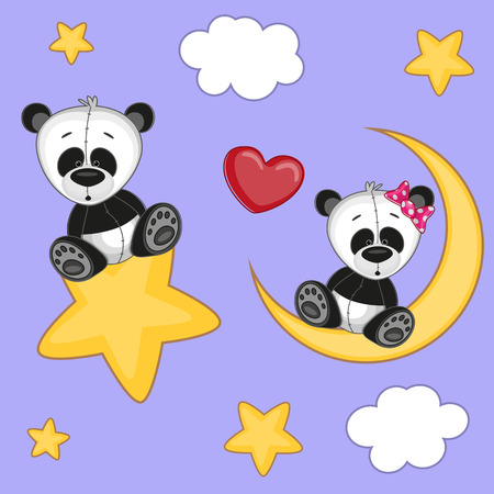 cartoons animals: Valentine card with Lovers Pandas