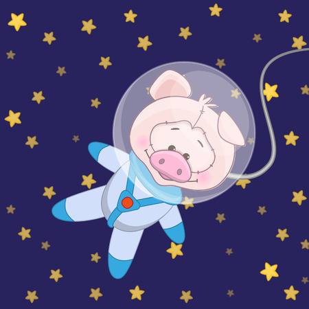 range of motion: Pig astronaut on a stars background
