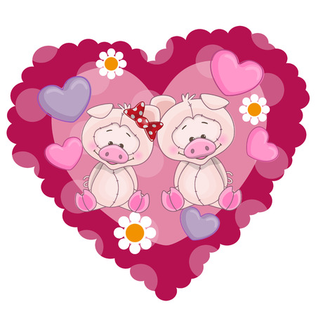 Two Pigs on a background of heart Vector