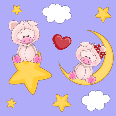 Valentine card with Lovers Pigs Vector