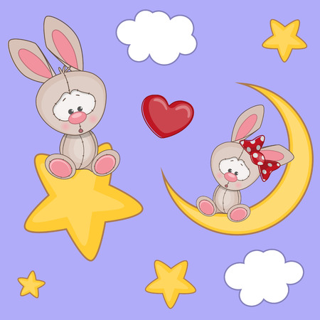 Valentine card with Lovers Rabbits Vector