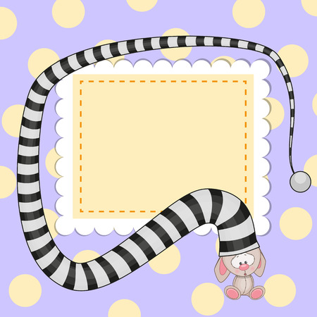 Greeting card with rabbit in striped hat Vector