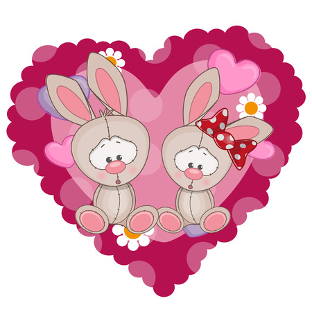 miss: Two Rabbits on a background of heart