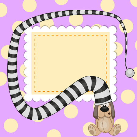 Greeting card with dog in striped hat Vector