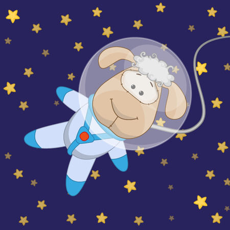 Sheep astronaut on a stars background Vector