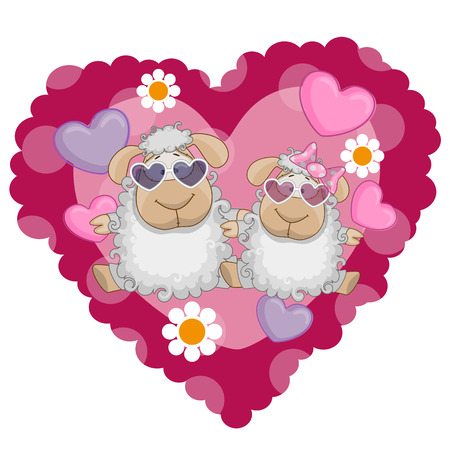 miss: Two Sheep on a background of heart
