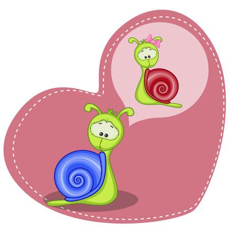 かわいい夢カタツムリのグリーティング カード  イラスト・ベクター素材