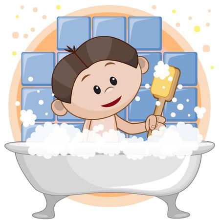 cartoon washing: Cute cartoon boy in the bathroom Illustration