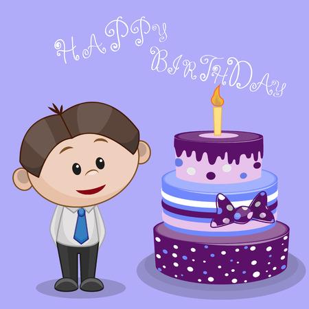 Cute cartoon boy with cake Vector