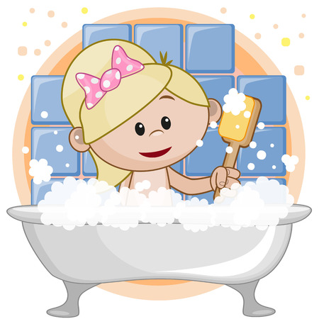 young girl bath: Cute cartoon girl in the bathroom Illustration