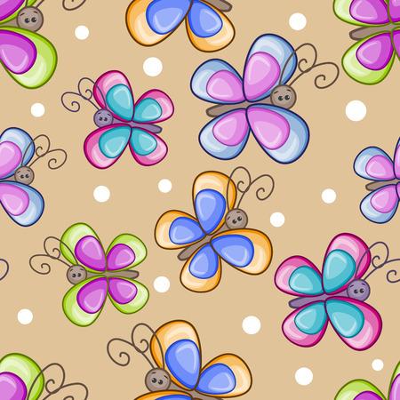 swarm: Butterfly seamless pattern on a beige background Illustration