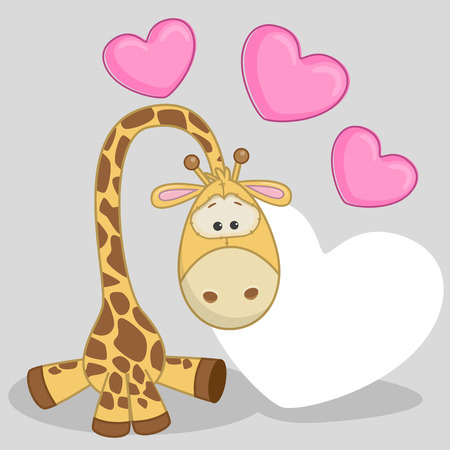 Greeting card Giraffe with hearts  Illustration