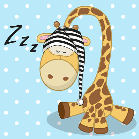 Sleeping Giraffe in a cap  Vector
