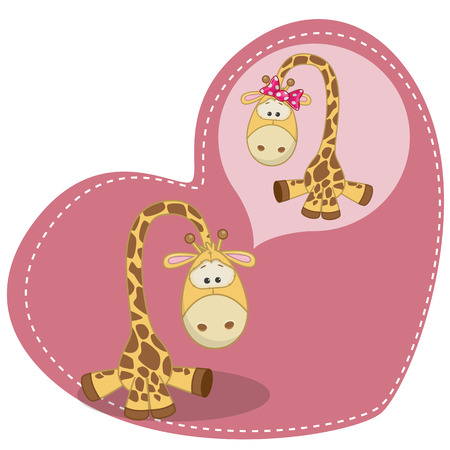 Greeting card Cute Dreaming Giraffe  Vector