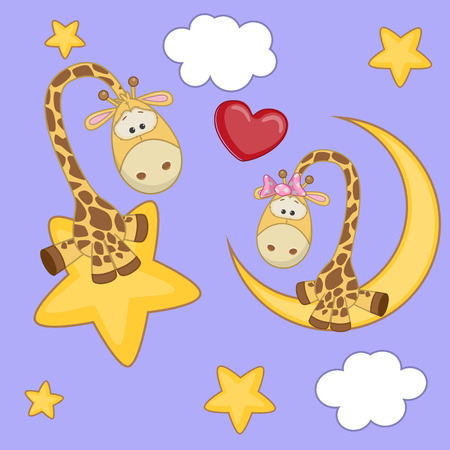 Valentine card with Lovers Giraffe  Vector