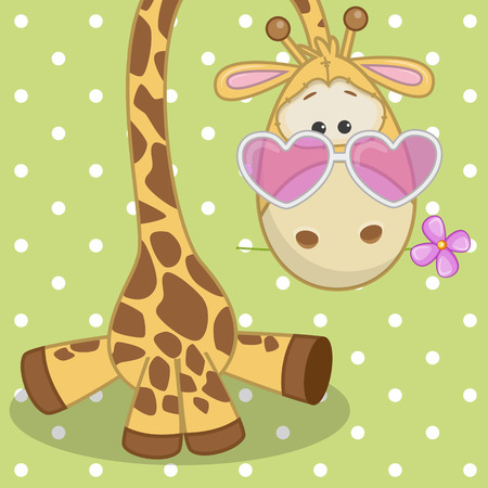 Greeting card Giraffe with flower  Vector
