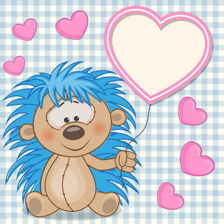 Valentine card with hedgehog with heart frame  Vector
