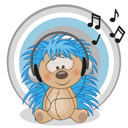 Cute cartoon hedgehog with headphones Illustration
