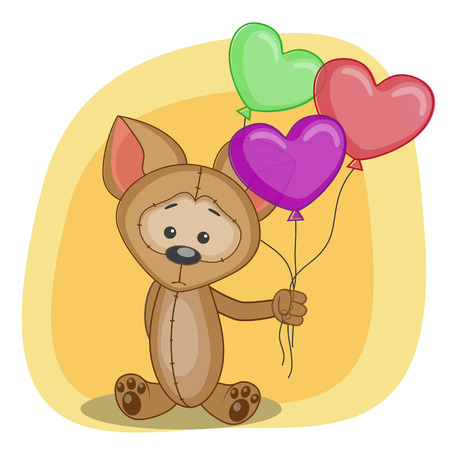 baloons: Greeting card puppy with baloons