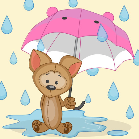 Greeting card Dog with umbrella  Vector